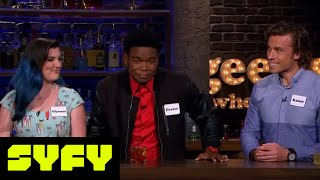 GEEKS WHO DRINK Clips  Felicia Day vs Dexter Darden in Condoms  Shakespeare  SYFY