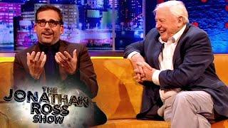 David Attenborough Loses It at Steve Carells Improvised Baboon Encounter  The Jonathan Ross Show