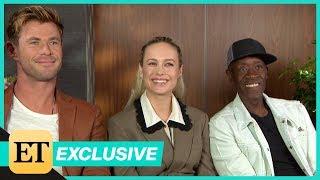 Avengers Endgame Chris Hemsworth Brie Larson and Don Cheadle FULL INTERVIEW